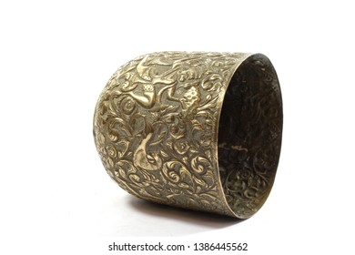Vintage Antique Silver Metal Oriental Bowl on White Background