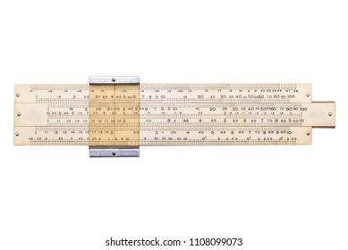 Vintage antique slide ruler, logarithmic scale