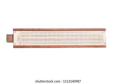 Vintage antique slide ruler, logarithmic scale, backside