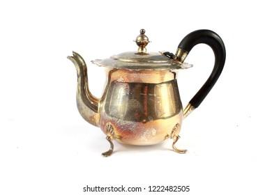 Vintage Antique Steam Punk Style Kettle Teapot on White Background