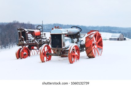 Vintage antique tractors in the winter in southern West Virginia