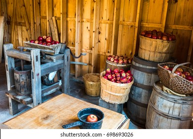 Vintage Apple Cider tools featuring red delicious apples