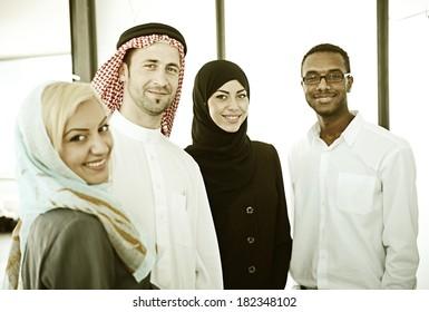 Vintage Arabic business people working in office
