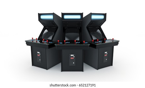 vintage arcade game machine. 3D rendering