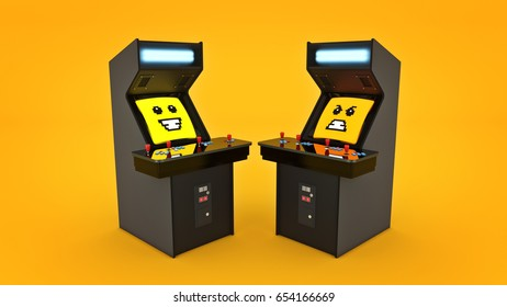 vintage arcade game machine, 3D rendering.