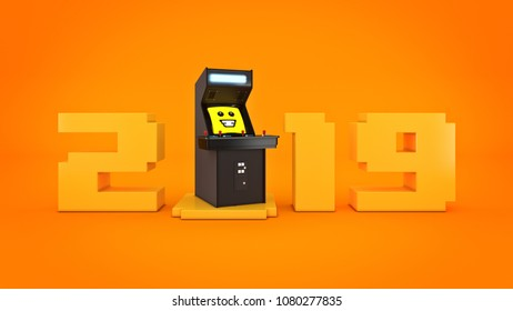 vintage arcade game machine concept 2019 New Year . 3D rendering