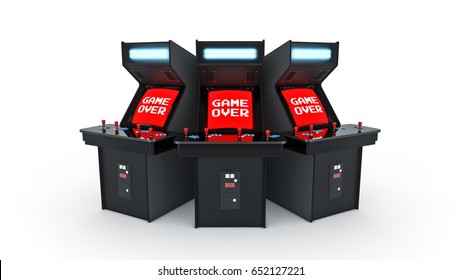vintage arcade game machine concept game over. 3D rendering