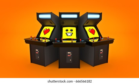 vintage arcade game machine concept love. 3D rendering
