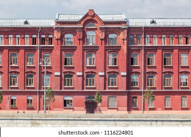 Vintage architecture classical red brick facade building front view