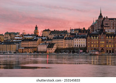 Vintage architecture  in Stockholm Sodermalm area at sunset.