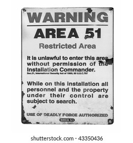 Vintage Area 51 warning sign isolated over white