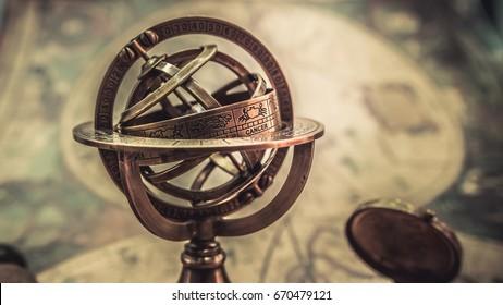 Vintage Armillary Astrological Zodiac Globe Sphere