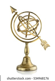 Vintage armillary sphere isolated on white background