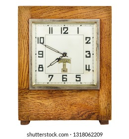 Vintage art deco table clock isolated on a white background