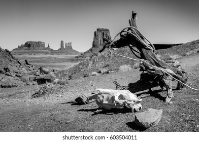 Vintage, artistic concept showing the old image of the old wild west and the difficult life conditions in Monument Valley, Utah. Monument Valley, Utah, USA.
