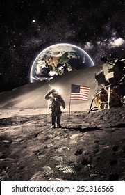 Vintage  -Astronaut with Flag On the Moon - Elements of this Image Furnished by NASA