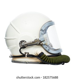 Vintage astronaut helmet isolated on a white background.