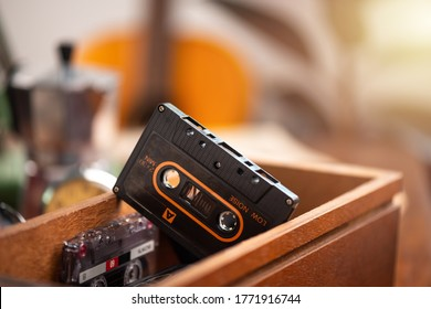 The vintage audio cassette tape, analog magnetic tape format for audio recording and playback.