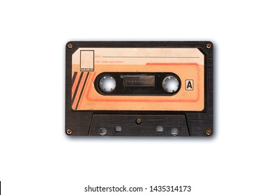 Vintage audio tape cassette isolated on white background with clipping path