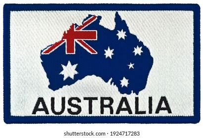 Vintage Australian national flag stars design badge tag, isolated embroidered rectangular Australia souvenir sew-on clothing label union jack star blazer patch, large detailed horizontal macro closeup