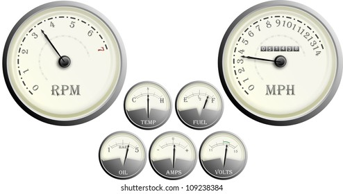 Vintage Auto Car Dashboard Dial Set, mph, revs, oil, temp, fuel, amps, volts,