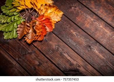 Vintage autumn fallen leaves on the old wooden table