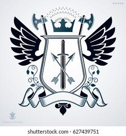 Vintage award design, classic heraldic Coat of Arms. emblem.