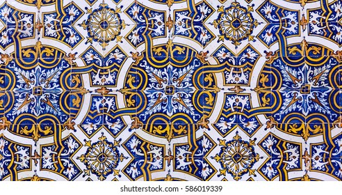 Vintage azulejos (ancient tiles) from the old university - Coimbra, Portugal