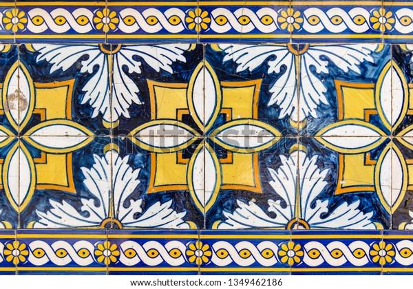Vintage azulejos, traditional Portuguese tiles.