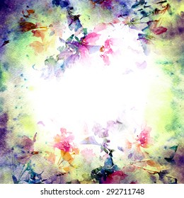 Vintage background. Art floral frame. Grunge card. Watercolor  background.
