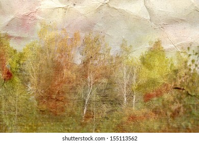 Vintage background beautiful autumn forest on a crumpled paper