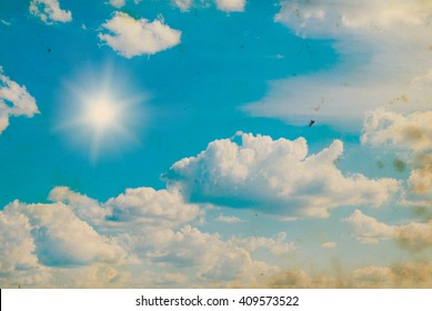 Vintage background of blue cloudy sky