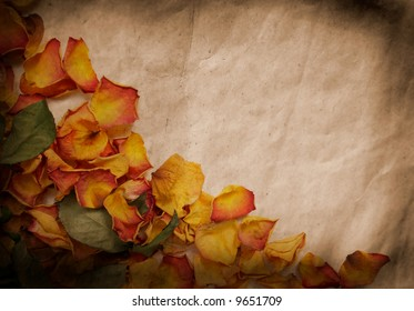 Vintage background with colorful wilted rose petals
