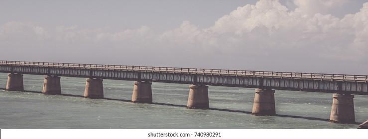Vintage background of Florida Keys seven mile bridge