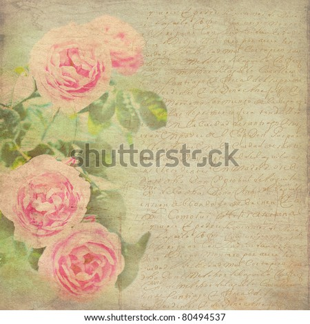 Vintage Background Flowers Background Vintage Paper Stock Photo