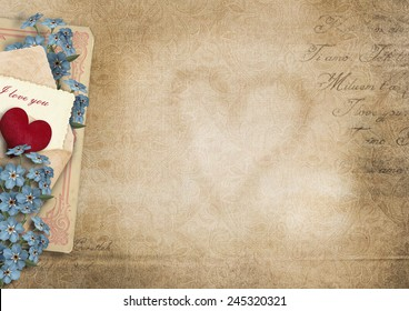 Vintage  background I love you.Valentine card