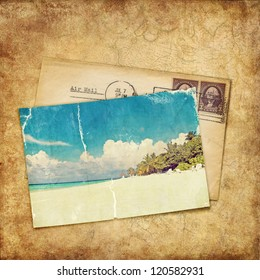 Vintage background. Old photo and letter