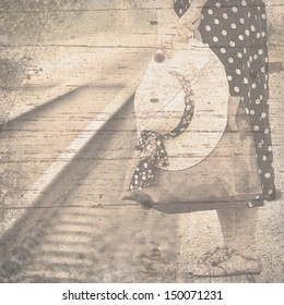 Vintage background on woman waiting by railway in concept of journey