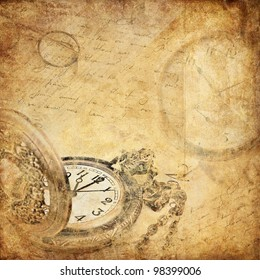 vintage background with a pocket watch