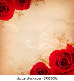 vintage background with red roses and floral ornament