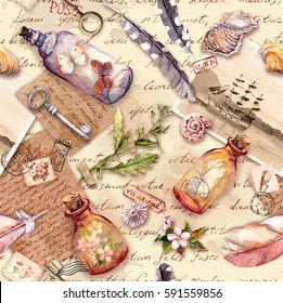 Vintage background with retro design, Old paper, feathers, sea shells, glass bottles, flowers, notes, watercolor feathers, keys. Repeating pattern