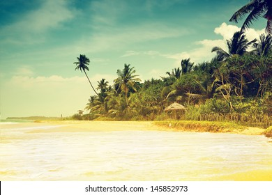 Vintage background. Retro tropical beach
