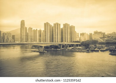 Vintage background of the river bridge building in Hong Kong city