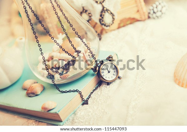 Vintage background with watch. Romantic photo