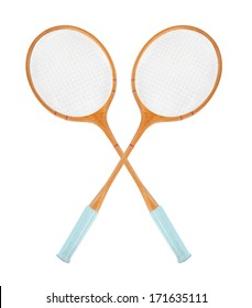 Vintage badminton rackets isolated on a white background.