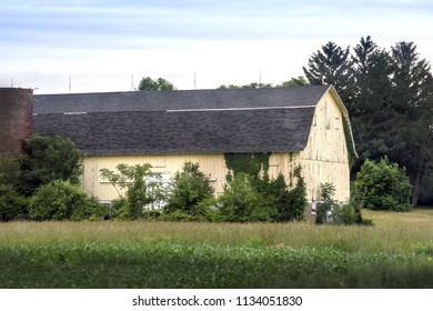 A vintage barn painted pale yellow, sits in a field in Indiana USA