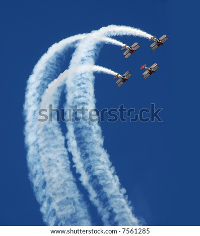 Vintage Barnstormer Aircraft Maneuver Stock Photo (Edit Now) 7561285