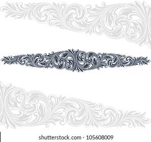 Vintage baroque border frame card flower motif pattern isolated on white