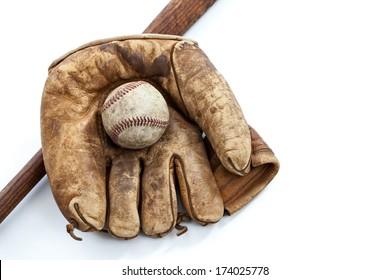 Vintage baseball, bat and glove isolated on white background
