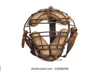 Vintage baseball catchers mask isolated on a white background
